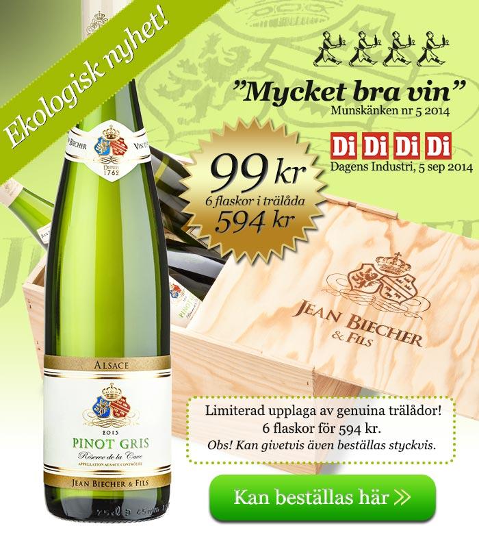 Jean Biecher Pinot Gris levereras i genuin trälåda om du beställer 6 flaskor