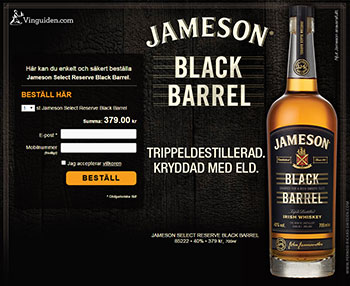 jameson black barrel 70 cl 379 kr whisky p. Black Bedroom Furniture Sets. Home Design Ideas