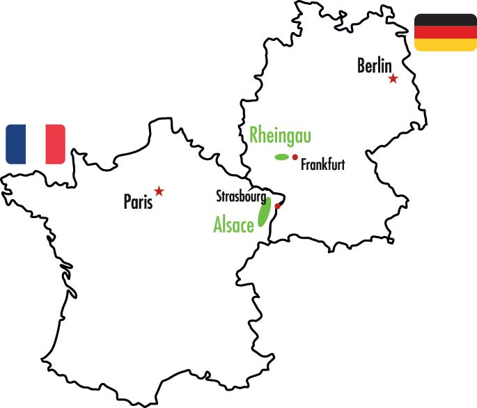 Karta över Alsace och Rheingau