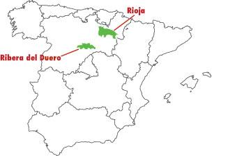 Karta över Spanien för Veckans Klonk, Rioja vs Ribero del Duero