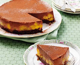 Ljuvlig choklad- och mangotårta