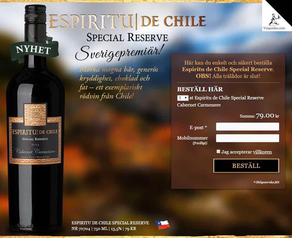 Espiritu de Chile Special Reserve Cabernet Carmenere